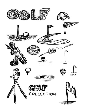 wedge: golf objects isolated on the white background Illustration