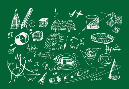 school icons isolated on the green background Stock Vector - 10963736