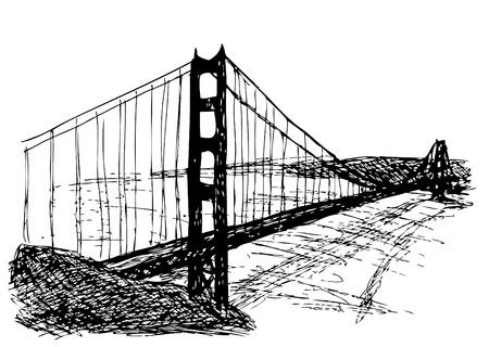 Golden gate bridge isolato su sfondo bianco Vettoriali