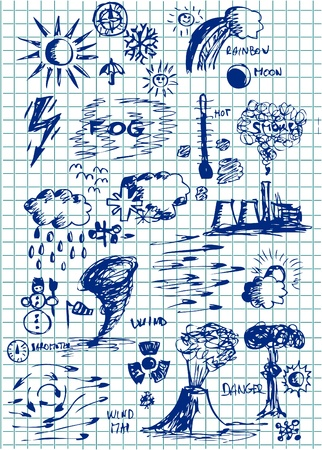 powerhouse: wheather  icons isolated on the square paper Illustration
