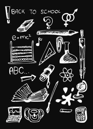 school icons isolated on the black background Vector