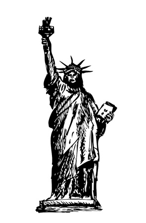statue of liberty isolated on the white background Vector