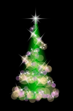 christmas tree isolated on the black background Stock Vector - 10963754