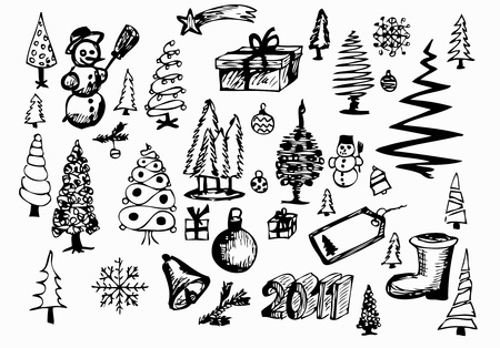 hand drawn christmas objects isolated on the white background Vector