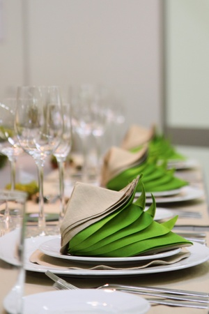 wedding table in the green and white colors  photo