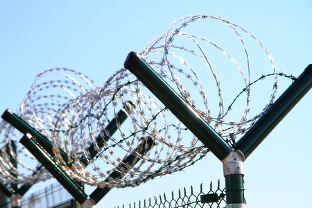 barbed wire against blue sky as nice army background photo