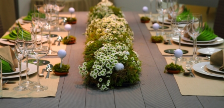 decor: very nice wedding golf table as sport or food background