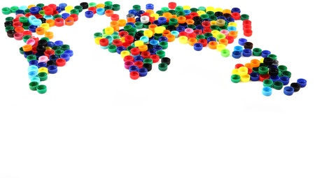 world map from plastic caps isolated on the white background photo