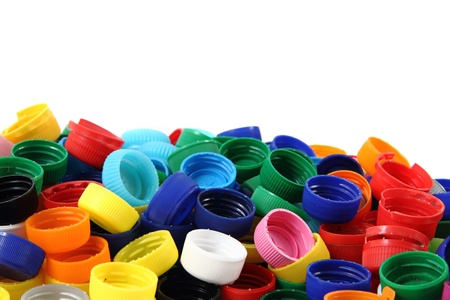 color plastic caps as nice color background Stock Photo