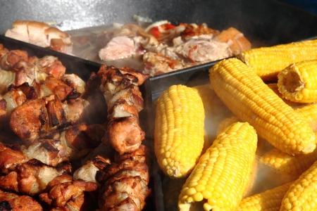 nice food: corn and meat as nice food background Фото со стока