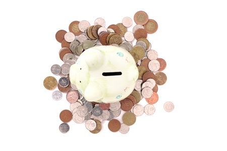 coin bank and czech money isolated on the white background photo