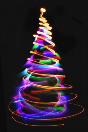 abstract color christmas tree from xmas lights  Imagens