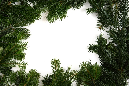白の背景に分離クリスマス グリーン フレーム