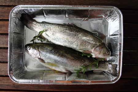 raw trout fishes as very nice food background Stock Photo - 15906895