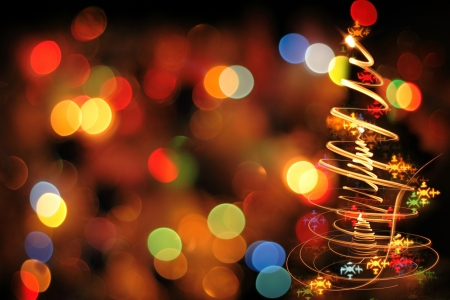 holiday christmas lights: christmas tree from the color xmas lights as nice holiday background Stock Photo