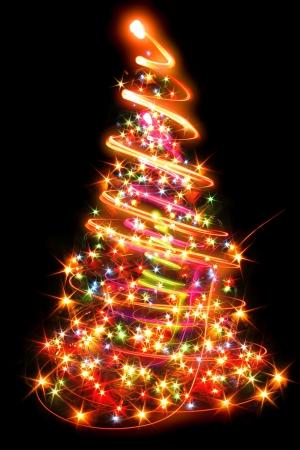 luces del árbol de navidad en el fondo negro Foto de archivo