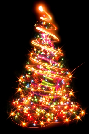 sparkles: xmas tree  lights  on the black background Stock Photo