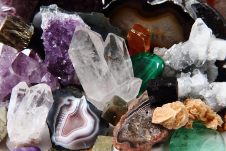 mineral collection as very nice natural gems background photo