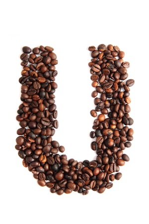 U - alphabet from coffee beans isolated on the white background Stock Photo - 18044597