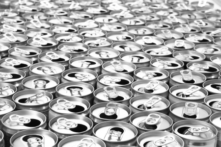 food and drink industry: empty cans as very nice metal background