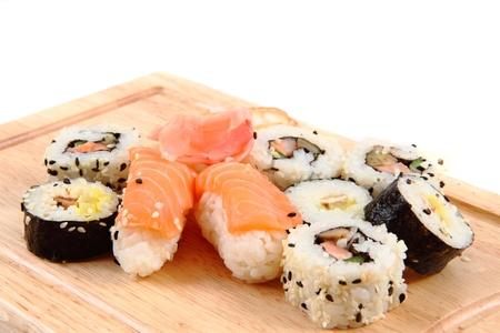 geisha sushi isolated on the white background Stock Photo