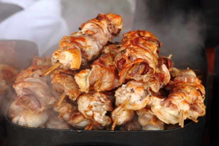 nice food: grilled chicken meat as very nice food background Фото со стока