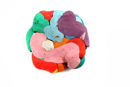 color plasticine isolated on the white background photo
