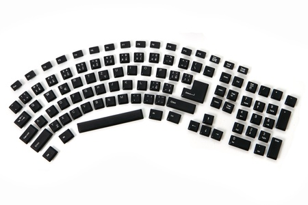 ergonomic keyboard from alphabet, signs, numbers, keyboard keys  photo