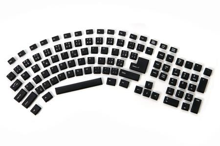 function key: ergonomic keyboard from alphabet, signs, numbers, keyboard keys  Stock Photo