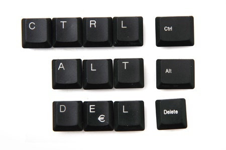 ctrl   alt   delete from keyboar keys  isolated on the white background photo