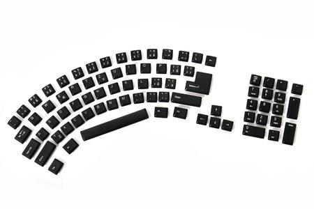 function key: ergonomic black keyboard isolated on the white background