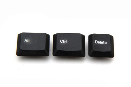 del: keyboard keys - ctrl, alt, del isolated on the white background