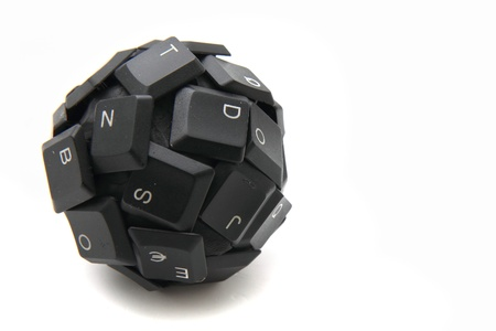 esc: keyboard sphere - new input device isolated on the white background