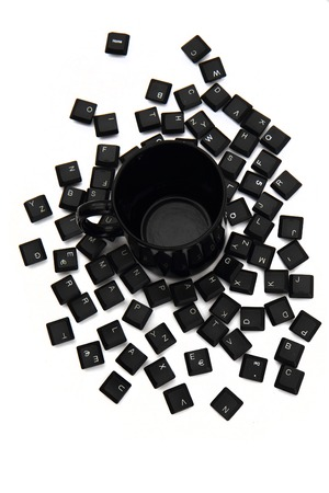 esc: keyboard keys in the black pot isolated on the white background Stock Photo