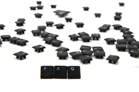 FAQ word from keyboard keys isolated on the white background photo