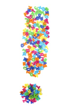 exclamation mark from letters isolated on the white background