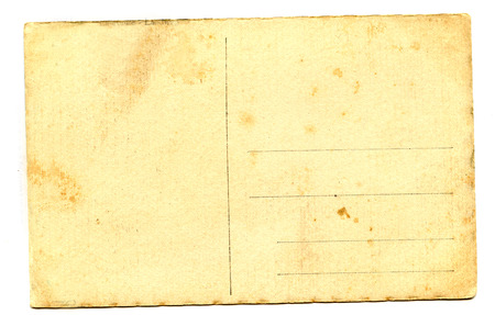 old empty postcard isolated on the white background photo
