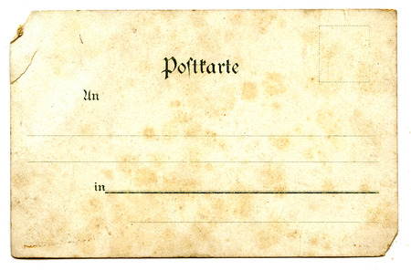 old empty postcard  back  isolated on the white  photo