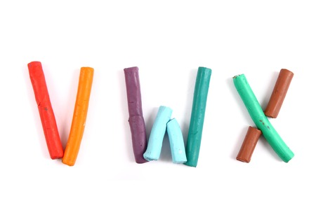 Plasticine alphabet isolated on the white  photo