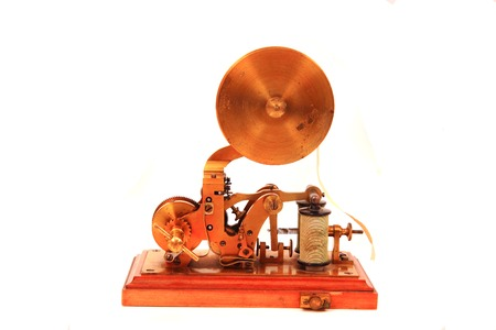 old telegraph (communication machine) isolated on the white background Stock Photo