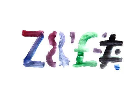 hand painted alphabet isolated on the white background photo