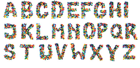 alphabet from plastic caps  isolated on the white background photo