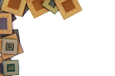 microprocesadores: microprocesadores viejos aislados en el fondo blanco
