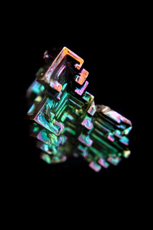 bismuth: bismuth  bismuthium  metal isolated on the black background