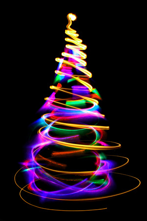 green and black: abstract color christmas tree from xmas lights