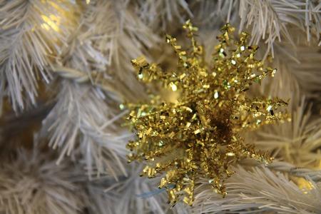 xmas background: christmas tree background (detail of xmas decoration) Stock Photo