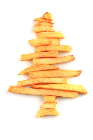potato tree: christmas tree from the potatoes chips as holiday background