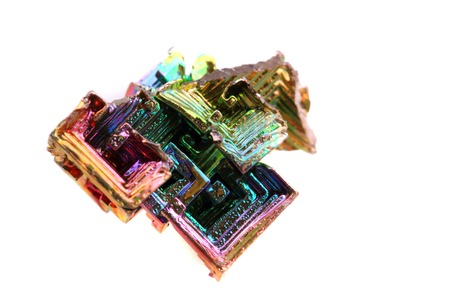 bismuth: bismuth (rainbow metal quartz) isolated on the white background Stock Photo