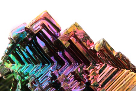 bismuth (rainbow metal quartz) isolated on the white background Stock Photo