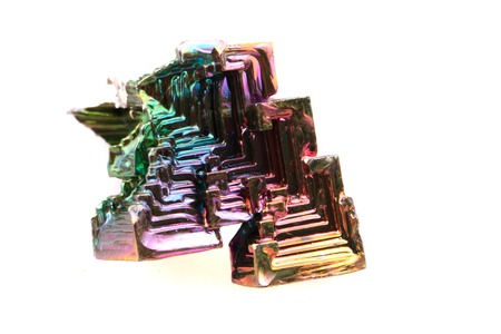 bismuth: bismuth (rainbow metal crystal)  isolated on the white background
